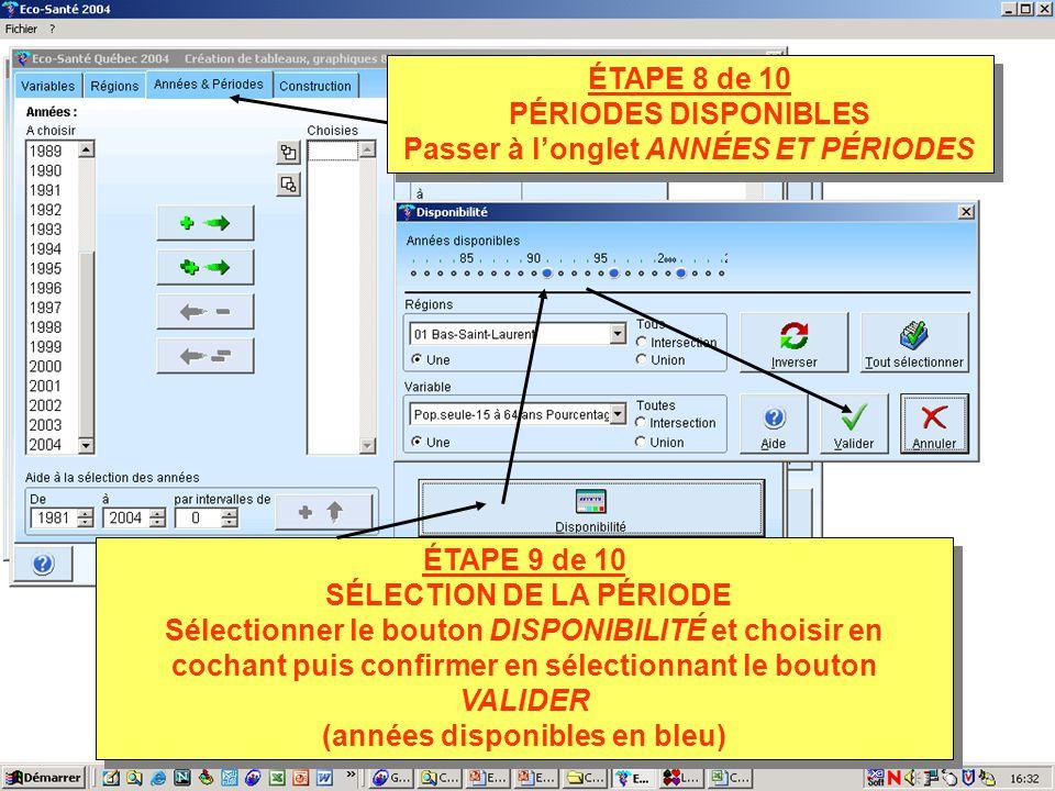 ÉTAPE 9 de 10 SÉLECTION DE LA PÉRIODE Sélectionner le bouton DISPONIBILITÉ et choisir en cochant puis confirmer en sélectionnant le bouton VALIDER (années disponibles en bleu) ÉTAPE 9 de 10 SÉLECTION DE LA PÉRIODE Sélectionner le bouton DISPONIBILITÉ et choisir en cochant puis confirmer en sélectionnant le bouton VALIDER (années disponibles en bleu) ÉTAPE 8 de 10 PÉRIODES DISPONIBLES Passer à longlet ANNÉES ET PÉRIODES ÉTAPE 8 de 10 PÉRIODES DISPONIBLES Passer à longlet ANNÉES ET PÉRIODES