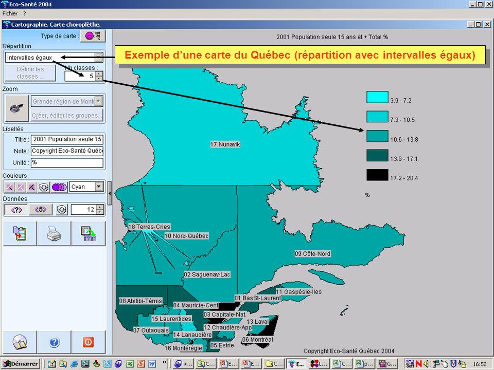 Exemple dune carte du Québec (répartition avec intervalles égaux)