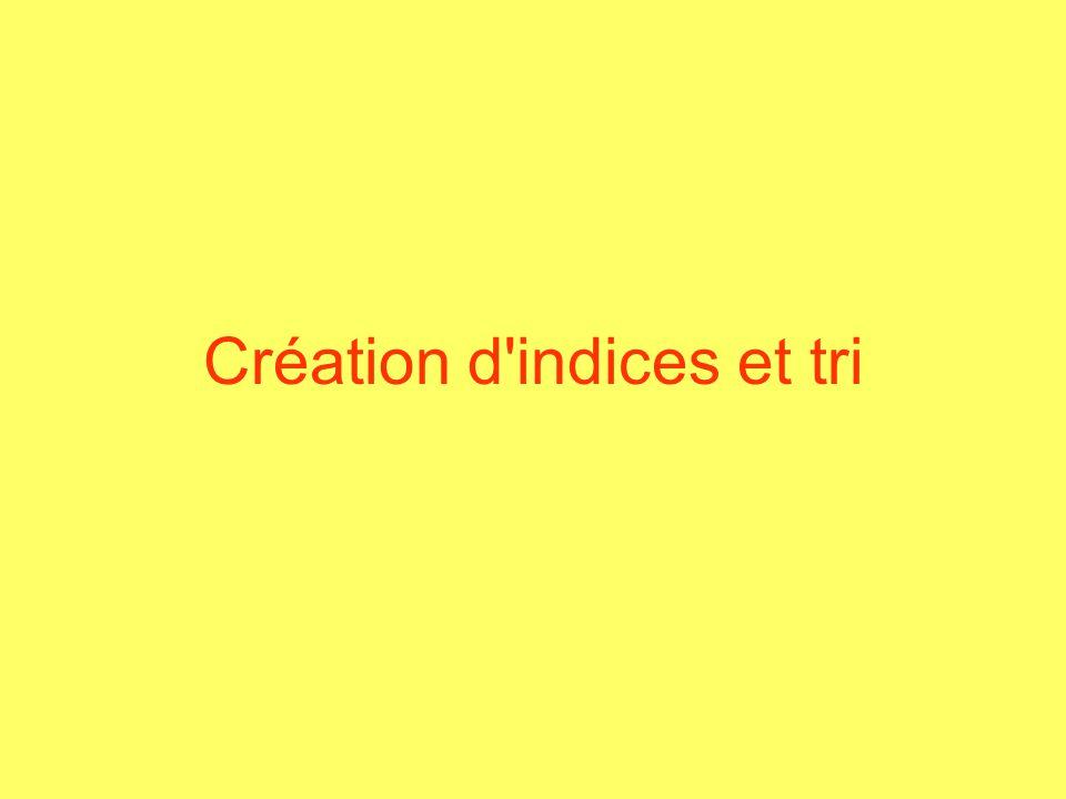 Création d'indices et tri