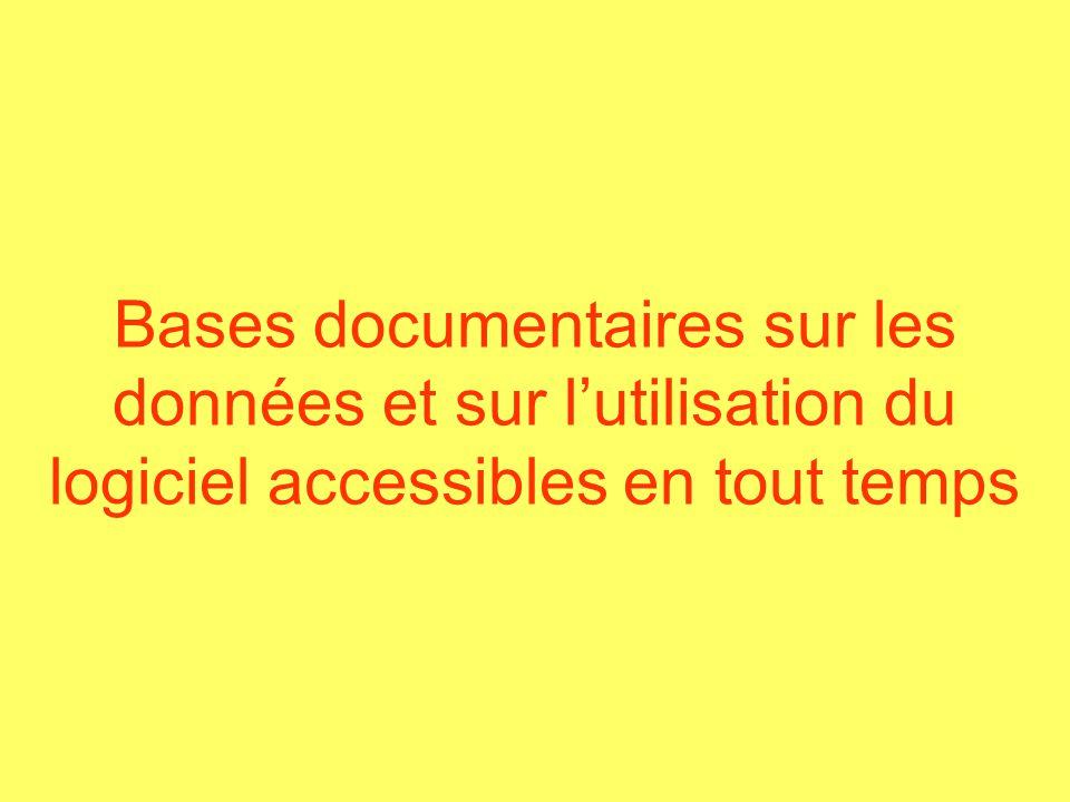 Bases documentaires sur les données et sur lutilisation du logiciel accessibles en tout temps