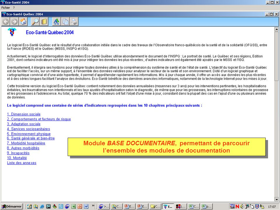 Module BASE DOCUMENTAIRE, permettant de parcourir lensemble des modules de documentation