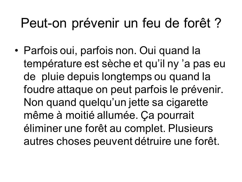 Peut-on prévenir un feu de forêt ? Parfois oui, parfois non. Oui quand la température est sèche et quil ny a pas eu de pluie depuis longtemps ou quand
