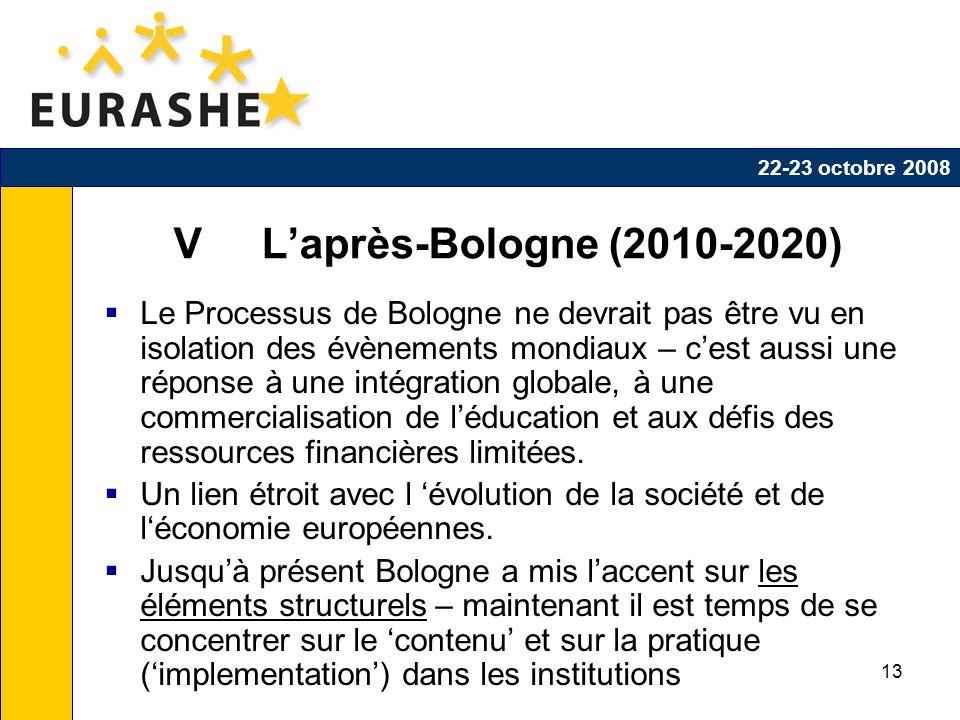 13 V Laprès-Bologne (2010-2020) Le Processus de Bologne ne devrait pas être vu en isolation des évènements mondiaux – cest aussi une réponse à une intégration globale, à une commercialisation de léducation et aux défis des ressources financières limitées.