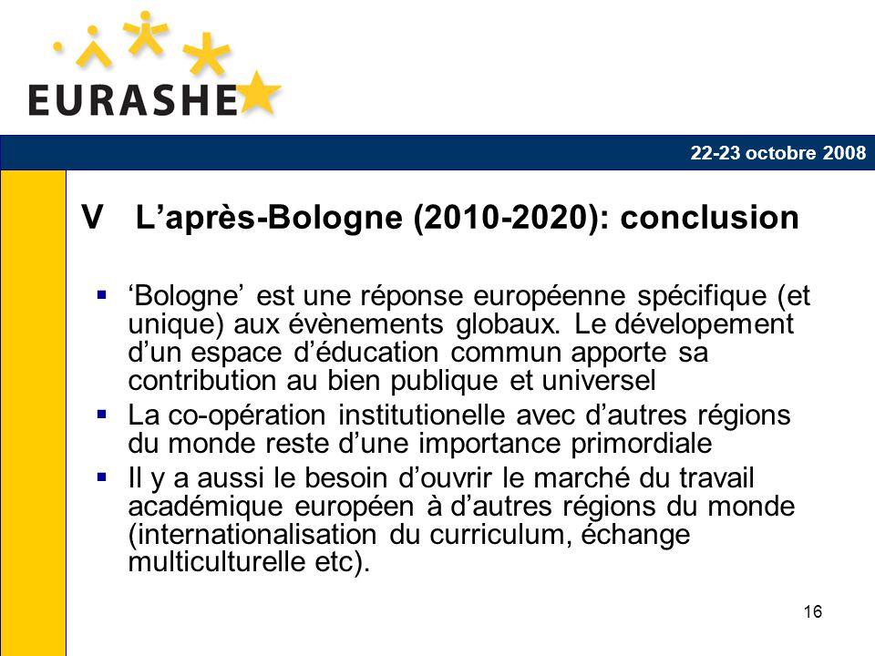 16 V Laprès-Bologne (2010-2020): conclusion Bologne est une réponse européenne spécifique (et unique) aux évènements globaux.