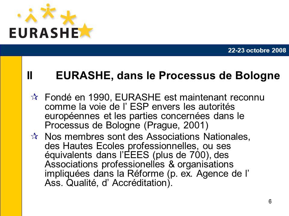 6 II EURASHE, dans le Processus de Bologne Fondé en 1990, EURASHE est maintenant reconnu comme la voie de l ESP envers les autorités européennes et les parties concernées dans le Processus de Bologne (Prague, 2001) Nos membres sont des Associations Nationales, des Hautes Ecoles professionnelles, ou ses équivalents dans lEEES (plus de 700), des Associations professionelles & organisations impliquées dans la Réforme (p.