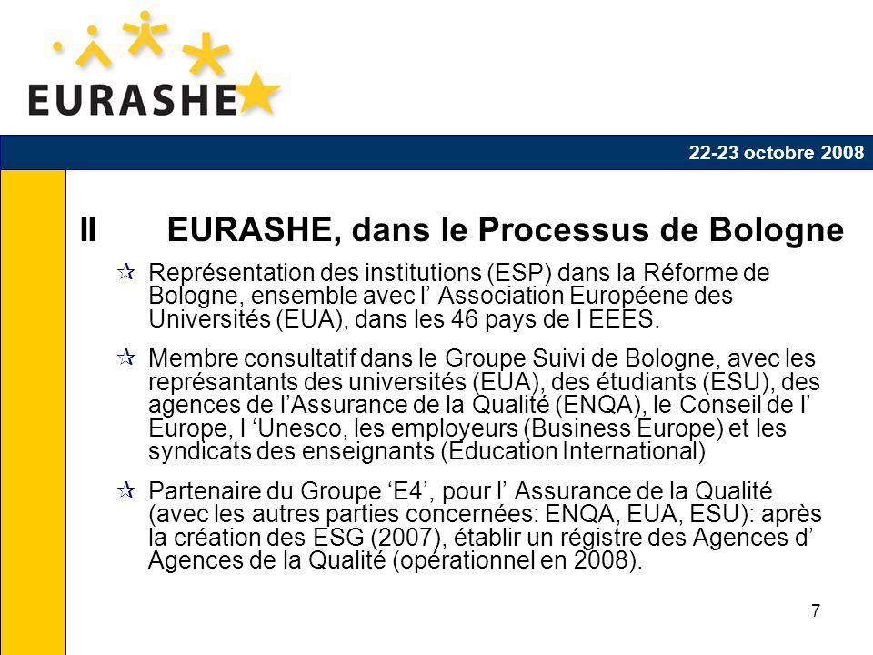 7 II EURASHE, dans le Processus de Bologne Représentation des institutions (ESP) dans la Réforme de Bologne, ensemble avec l Association Européene des Universités (EUA), dans les 46 pays de l EEES.