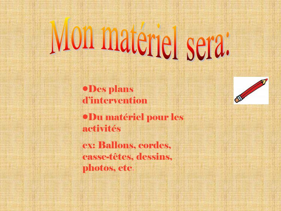 Des plans dintervention Du matériel pour les activités ex: Ballons, cordes, casse-têtes, dessins, photos, etc.