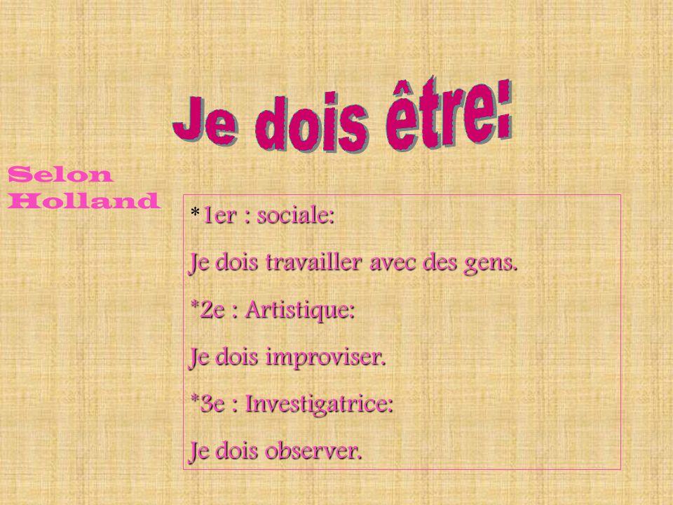 *1er : sociale: Je dois travailler avec des gens. *2e : Artistique: Je dois improviser. *3e : Investigatrice: Je dois observer. Selon Holland