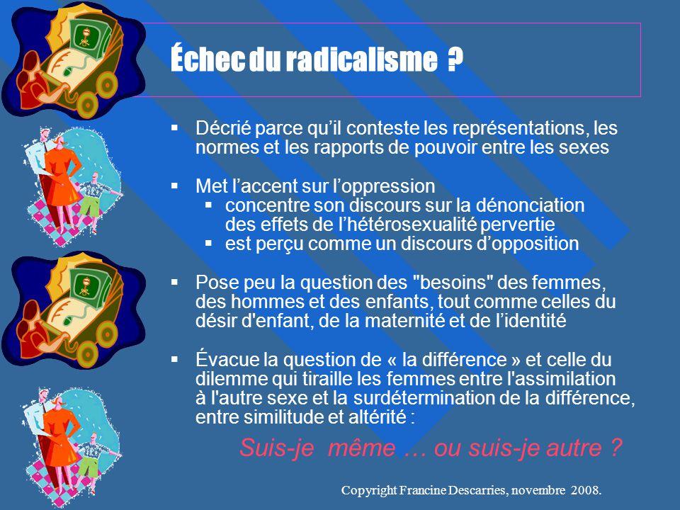 Copyright Francine Descarries, novembre 2008.Échec du radicalisme .