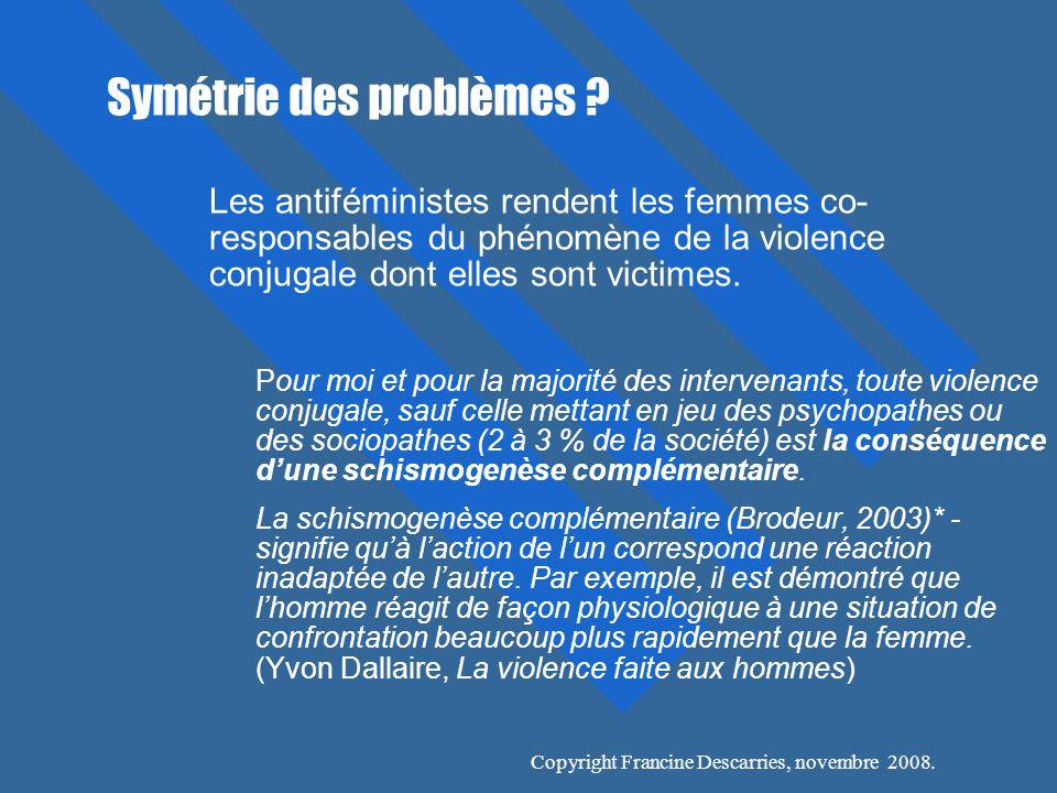 Copyright Francine Descarries, novembre 2008.Symétrie des problèmes .