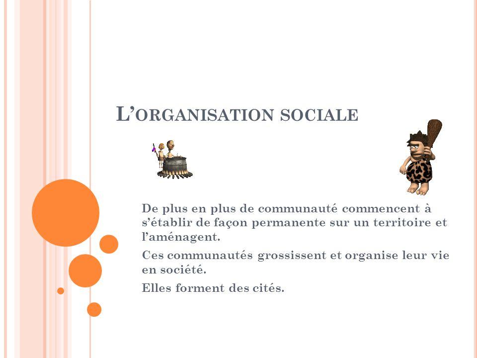 L ORGANISATION SOCIALE De plus en plus de communauté commencent à sétablir de façon permanente sur un territoire et laménagent. Ces communautés grossi