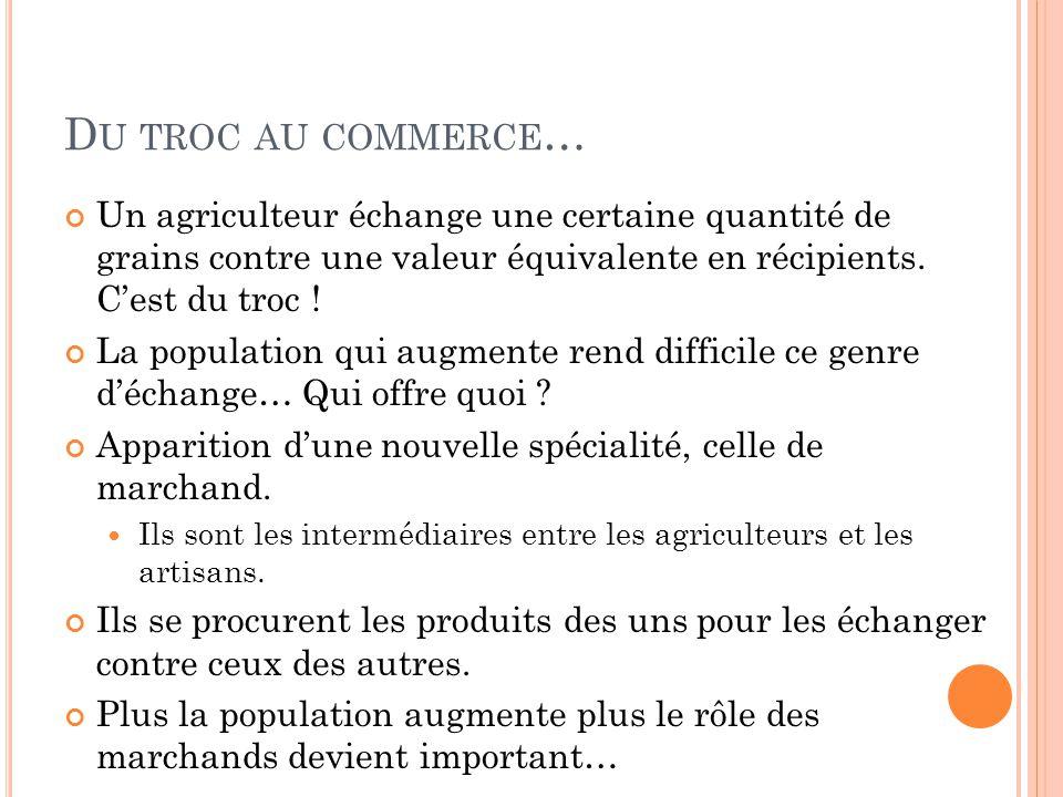 D U TROC AU COMMERCE … Un agriculteur échange une certaine quantité de grains contre une valeur équivalente en récipients. Cest du troc ! La populatio