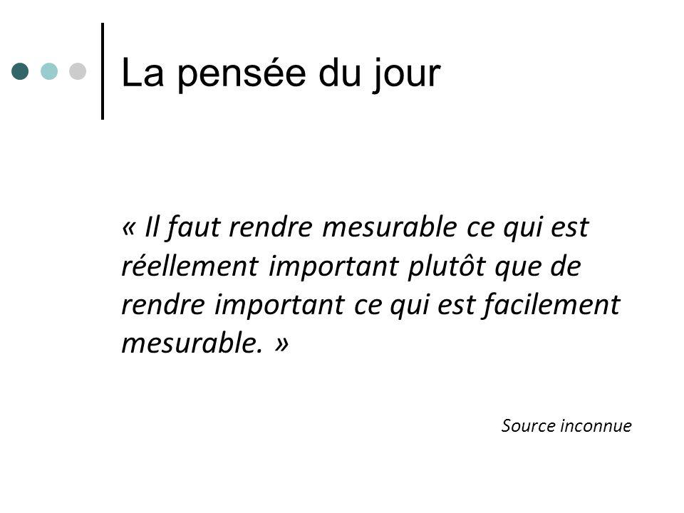 La pensée du jour « Il faut rendre mesurable ce qui est réellement important plutôt que de rendre important ce qui est facilement mesurable. » Source