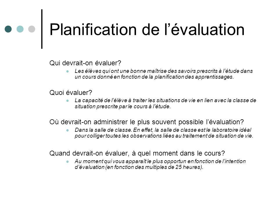Planification de lévaluation Qui devrait-on évaluer? Les élèves qui ont une bonne maîtrise des savoirs prescrits à létude dans un cours donné en fonct