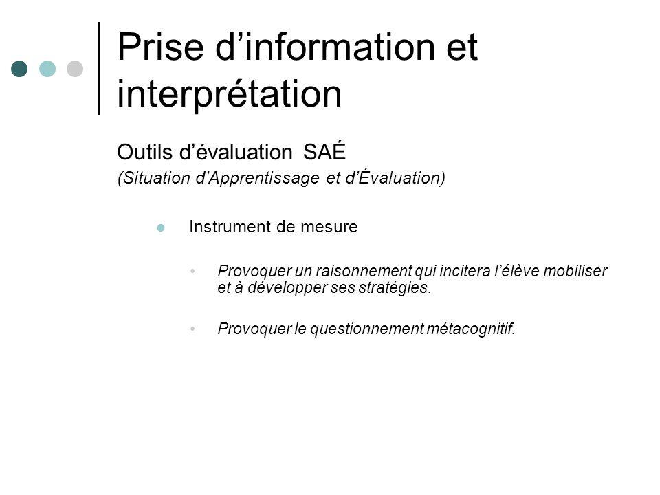 Prise dinformation et interprétation Outils dévaluation SAÉ (Situation dApprentissage et dÉvaluation) Instrument de mesure Provoquer un raisonnement q