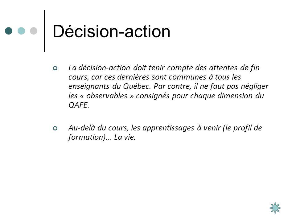 Décision-action La décision-action doit tenir compte des attentes de fin cours, car ces dernières sont communes à tous les enseignants du Québec. Par