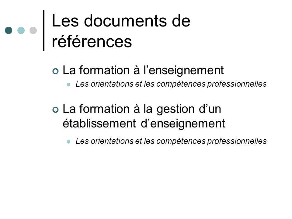 Les documents de références La formation à lenseignement Les orientations et les compétences professionnelles La formation à la gestion dun établissem