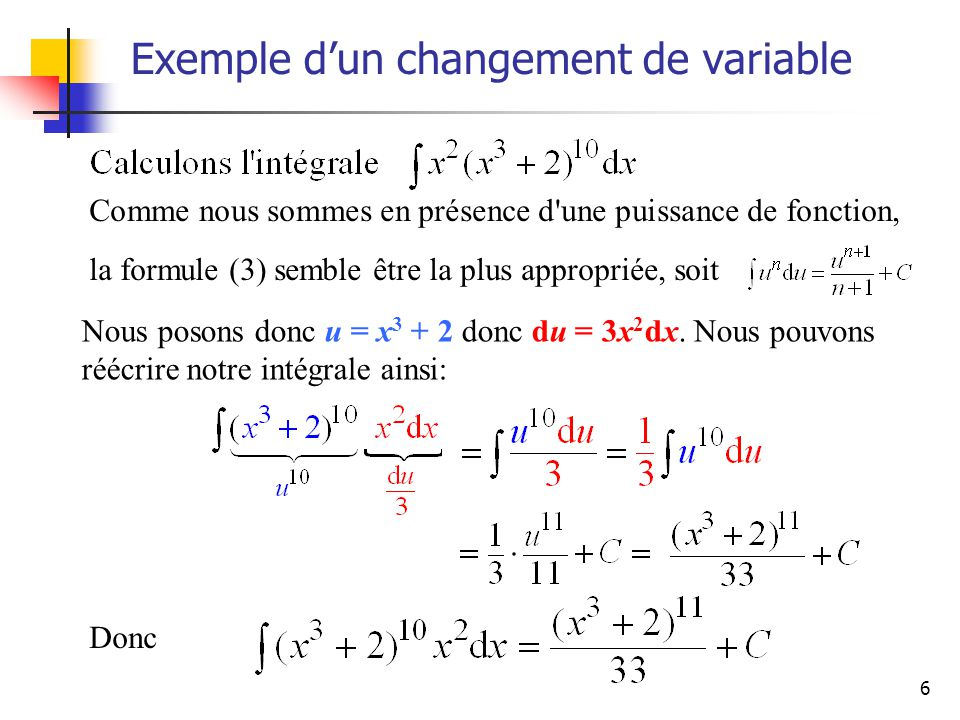 6 Comme nous sommes en présence d'une puissance de fonction, la formule (3) semble être la plus appropriée, soit Exemple dun changement de variable No