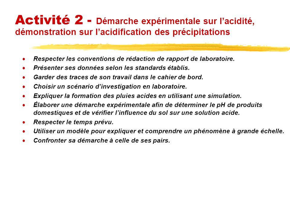 Activité 2 - Démarche expérimentale sur lacidité, démonstration sur lacidification des précipitations Respecter les conventions de rédaction de rapport de laboratoire.