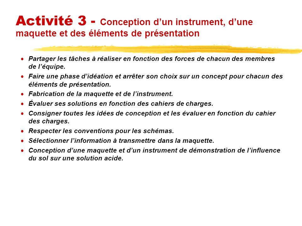 Activité 3 - Conception dun instrument, dune maquette et des éléments de présentation Partager les tâches à réaliser en fonction des forces de chacun des membres de léquipe.