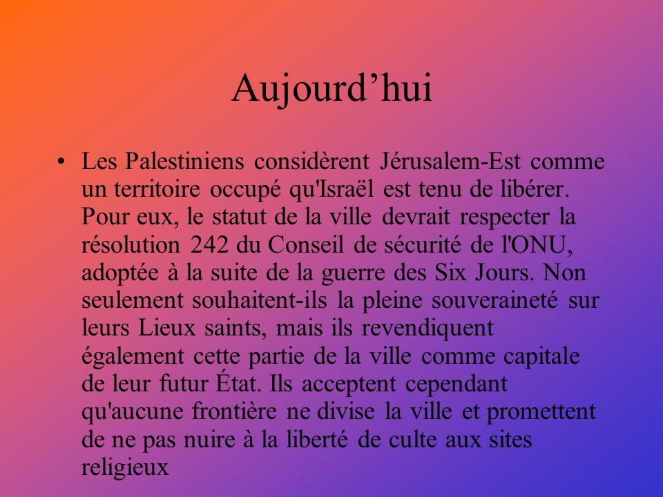 Aujourdhui Les Palestiniens considèrent Jérusalem-Est comme un territoire occupé qu'Israël est tenu de libérer. Pour eux, le statut de la ville devrai
