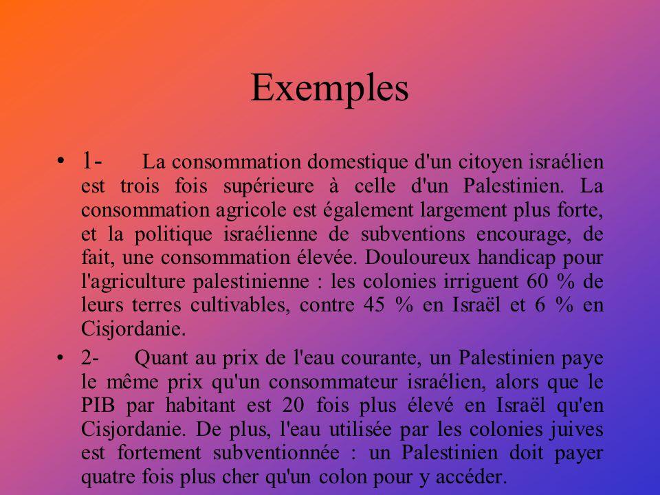 Exemples 1- La consommation domestique d'un citoyen israélien est trois fois supérieure à celle d'un Palestinien. La consommation agricole est égaleme