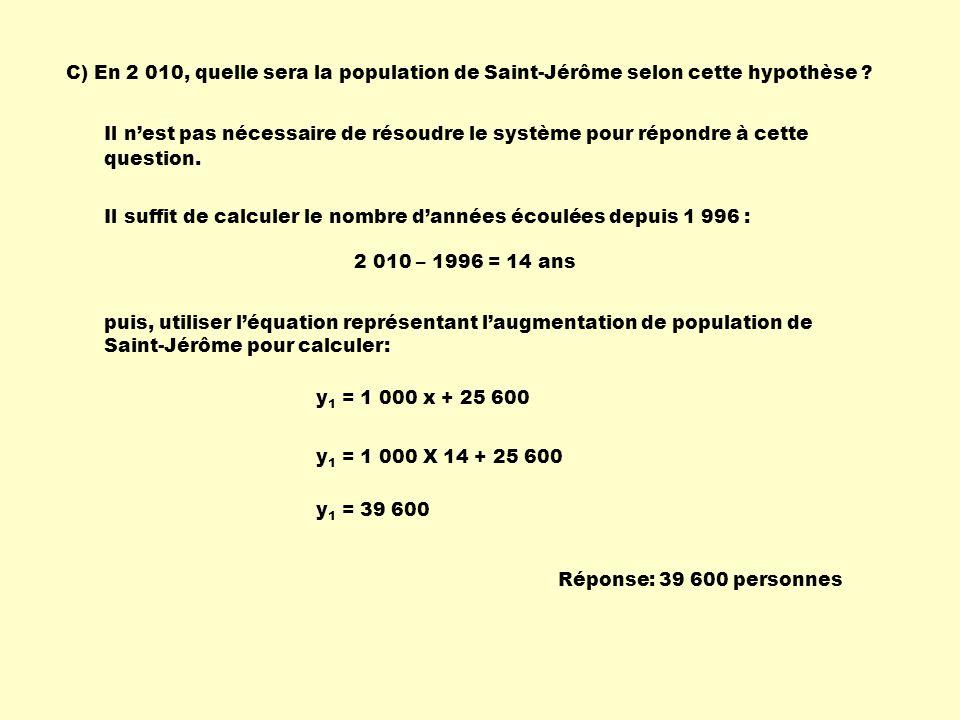 C) En 2 010, quelle sera la population de Saint-Jérôme selon cette hypothèse ? Il nest pas nécessaire de résoudre le système pour répondre à cette que