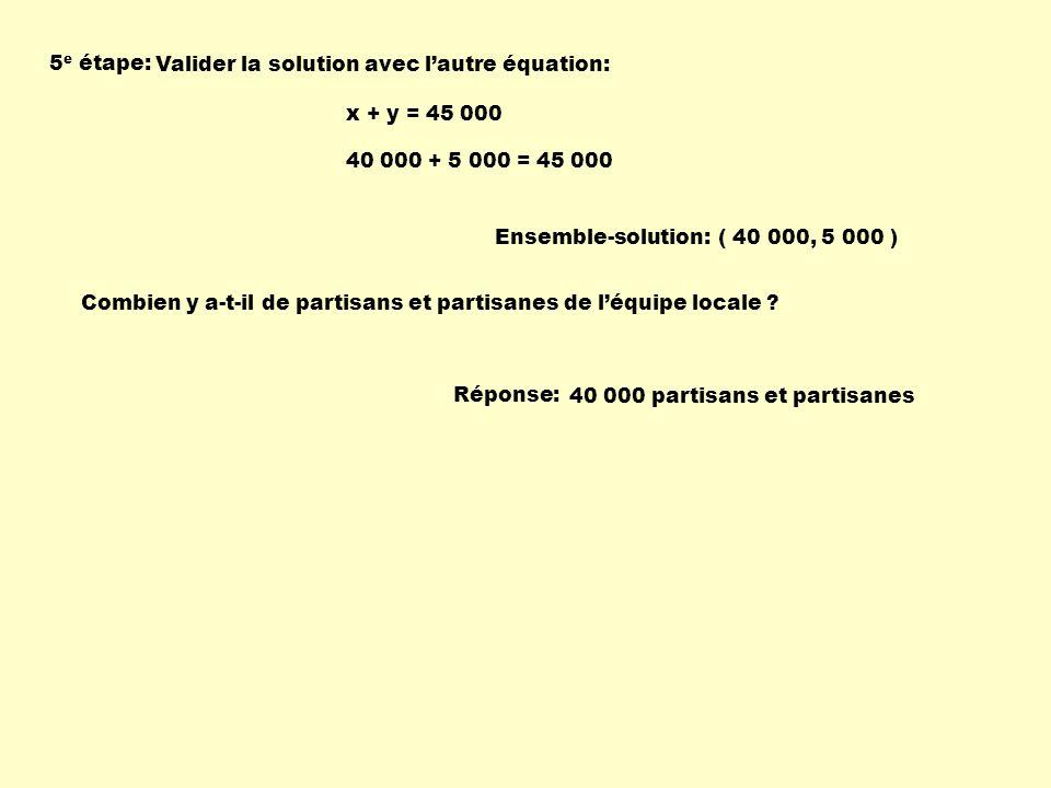 5 e étape: Valider la solution avec lautre équation: Ensemble-solution:( 40 000, 5 000 ) x + y = 45 000 40 000 + 5 000 = 45 000 Combien y a-t-il de pa