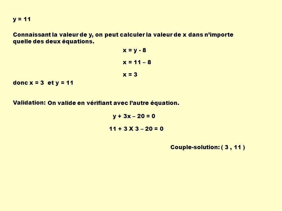 Connaissant la valeur de y, on peut calculer la valeur de x dans nimporte quelle des deux équations. y = 11 Validation: Couple-solution: ( 3, 11 ) On