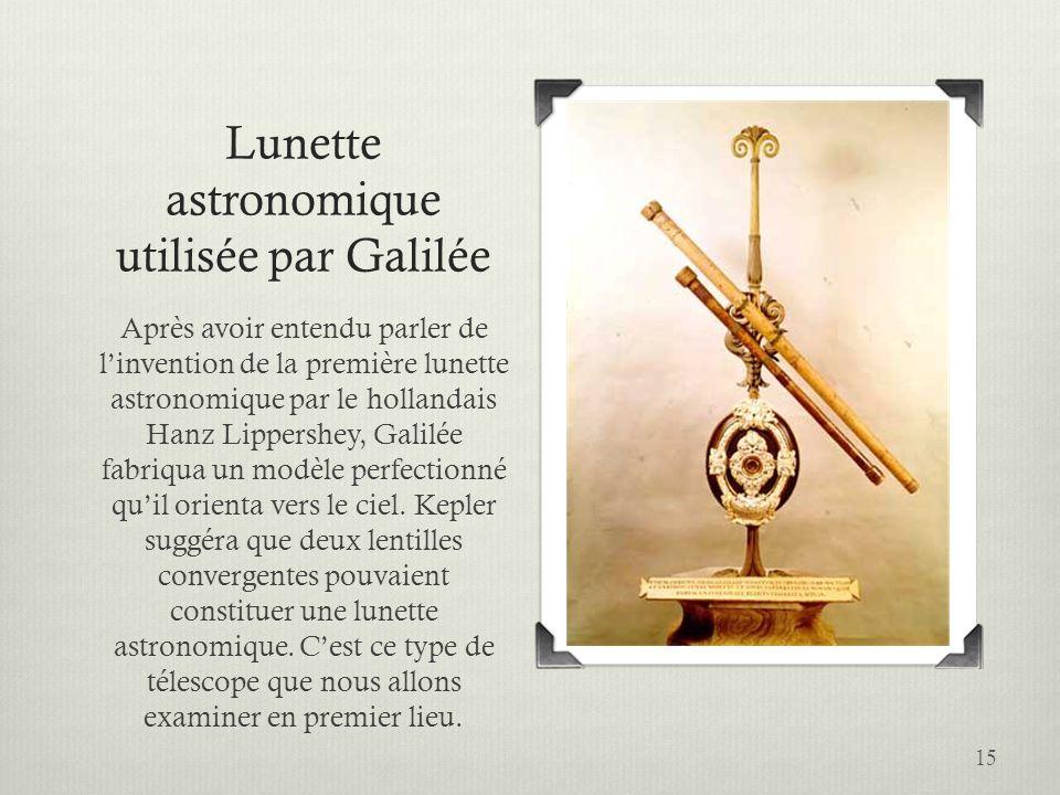 15 Lunette astronomique utilisée par Galilée Après avoir entendu parler de linvention de la première lunette astronomique par le hollandais Hanz Lippe