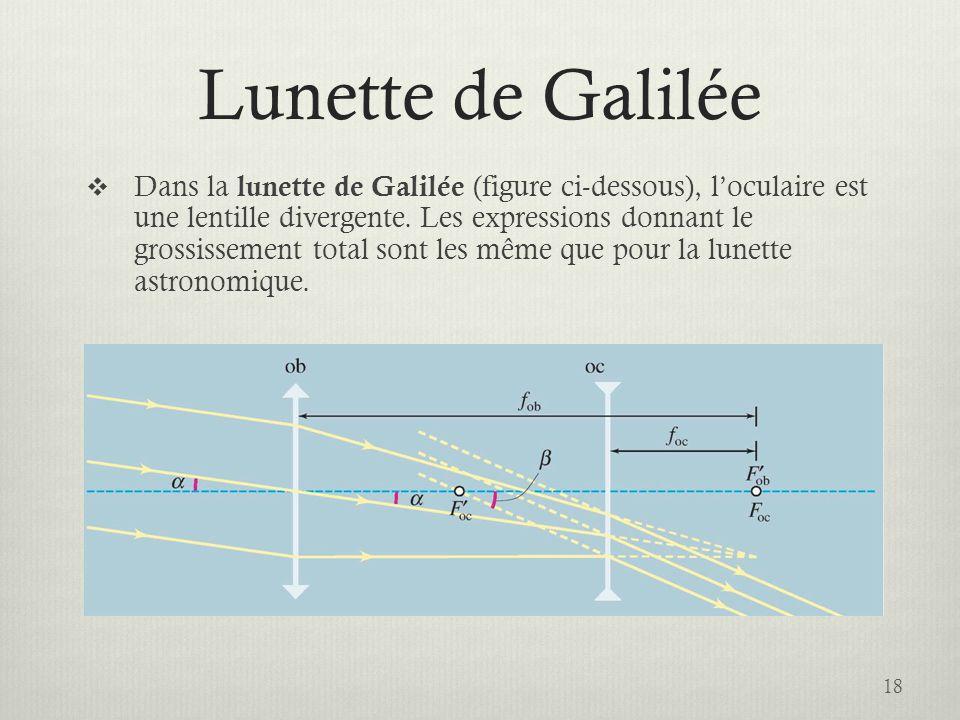 Lunette de Galilée Dans la lunette de Galilée (figure ci-dessous), loculaire est une lentille divergente. Les expressions donnant le grossissement tot