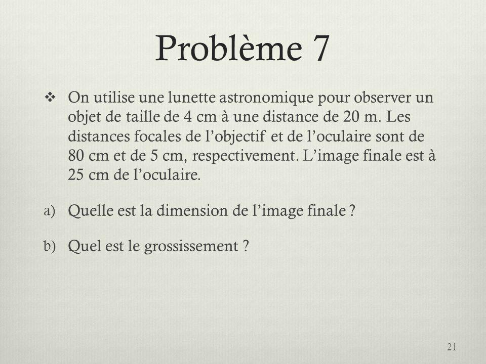 Problème 7 On utilise une lunette astronomique pour observer un objet de taille de 4 cm à une distance de 20 m. Les distances focales de lobjectif et