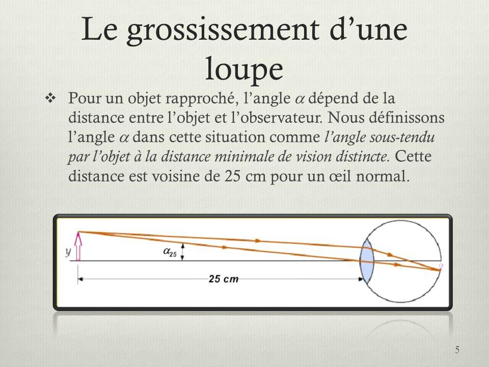 Le grossissement dune loupe Pour un objet rapproché, langle dépend de la distance entre lobjet et lobservateur. Nous définissons langle dans cette sit