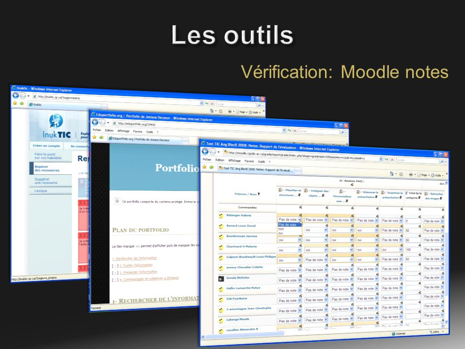 Vérification: Moodle notes