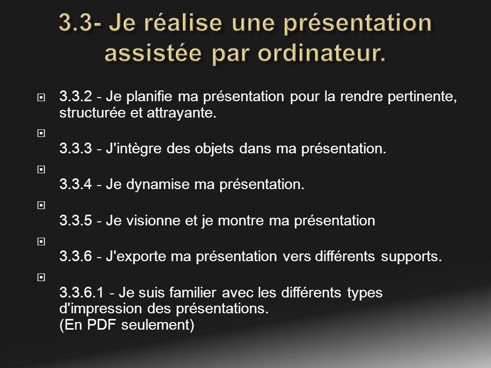 3.3.2 - Je planifie ma présentation pour la rendre pertinente, structurée et attrayante. 3.3.3 - J'intègre des objets dans ma présentation. 3.3.4 - Je