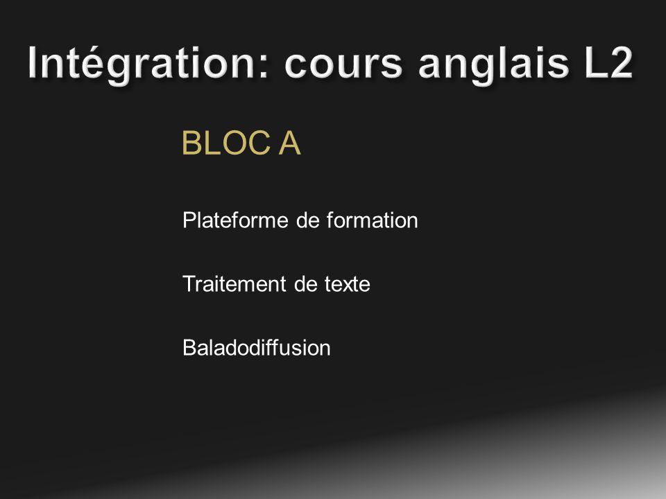 BLOC A Plateforme de formation Traitement de texte Baladodiffusion