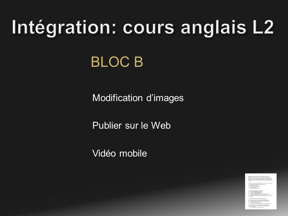 BLOC B Modification dimages Publier sur le Web Vidéo mobile