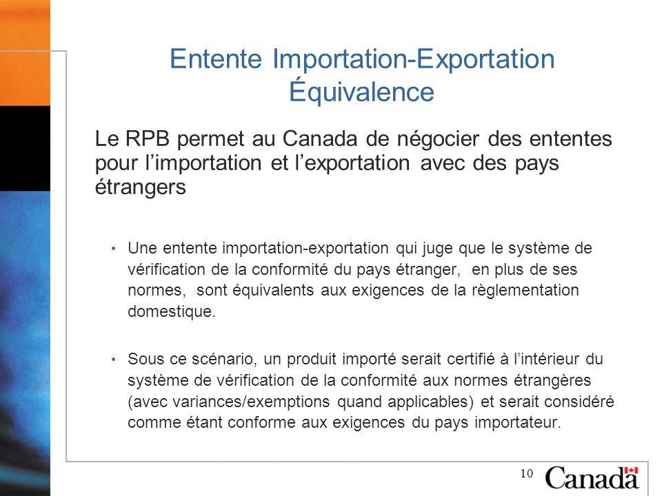 10 Entente Importation-Exportation Équivalence Le RPB permet au Canada de négocier des ententes pour limportation et lexportation avec des pays étrangers Une entente importation-exportation qui juge que le système de vérification de la conformité du pays étranger, en plus de ses normes, sont équivalents aux exigences de la règlementation domestique.