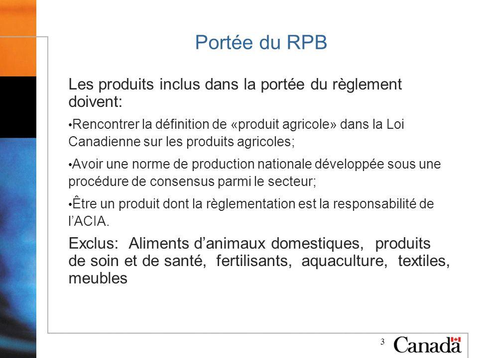 3 Portée du RPB Les produits inclus dans la portée du règlement doivent: Rencontrer la définition de «produit agricole» dans la Loi Canadienne sur les