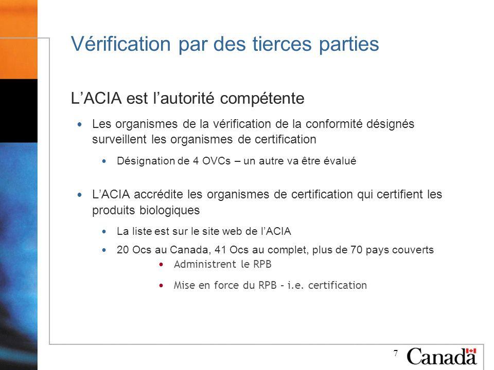 7 Vérification par des tierces parties LACIA est lautorité compétente Les organismes de la vérification de la conformité désignés surveillent les organismes de certification Désignation de 4 OVCs – un autre va être évalué LACIA accrédite les organismes de certification qui certifient les produits biologiques La liste est sur le site web de lACIA 20 Ocs au Canada, 41 Ocs au complet, plus de 70 pays couverts Administrent le RPB Mise en force du RPB – i.e.