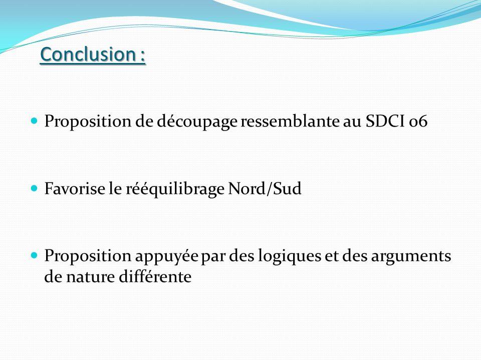 Conclusion : Proposition de découpage ressemblante au SDCI 06 Favorise le rééquilibrage Nord/Sud Proposition appuyée par des logiques et des arguments