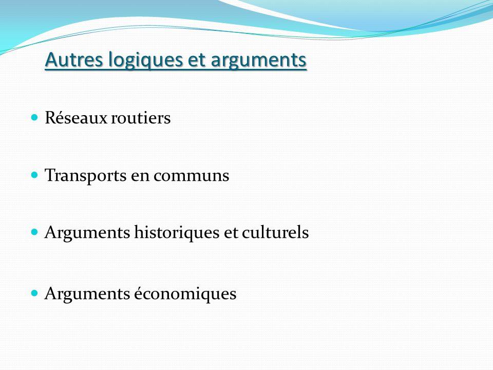 Autres logiques et arguments Réseaux routiers Transports en communs Arguments historiques et culturels Arguments économiques