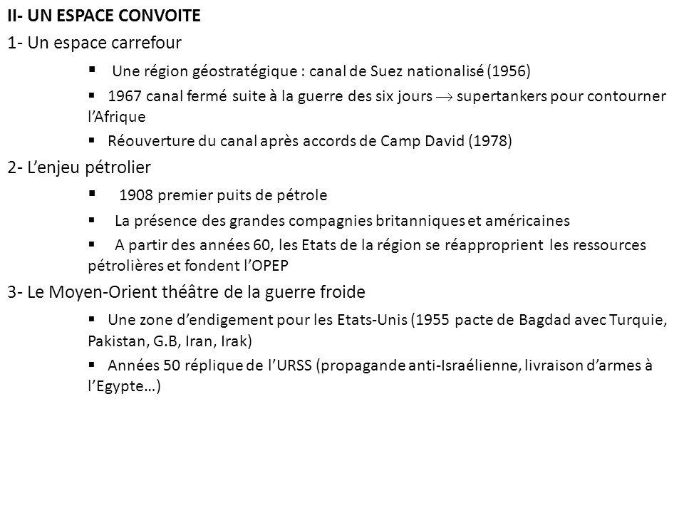 II- UN ESPACE CONVOITE 1- Un espace carrefour Une région géostratégique : canal de Suez nationalisé (1956) 1967 canal fermé suite à la guerre des six