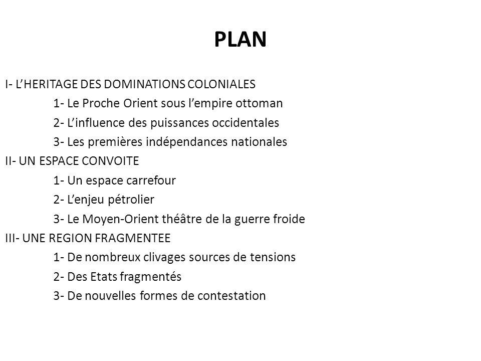 PLAN I- LHERITAGE DES DOMINATIONS COLONIALES 1- Le Proche Orient sous lempire ottoman 2- Linfluence des puissances occidentales 3- Les premières indép