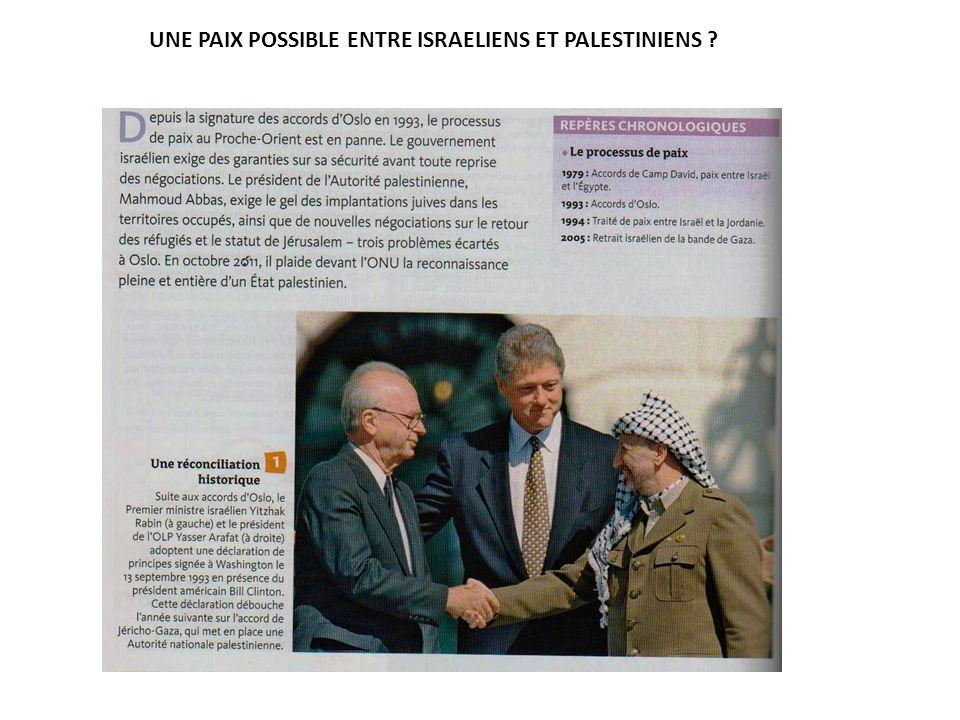 UNE PAIX POSSIBLE ENTRE ISRAELIENS ET PALESTINIENS ?