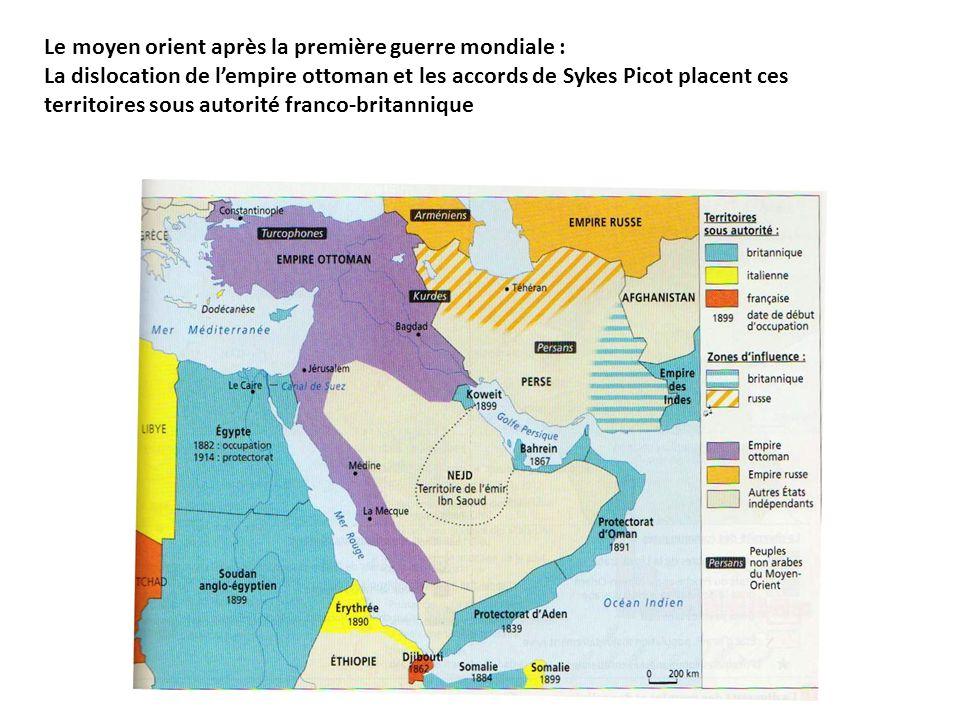 Le moyen orient après la première guerre mondiale : La dislocation de lempire ottoman et les accords de Sykes Picot placent ces territoires sous autor