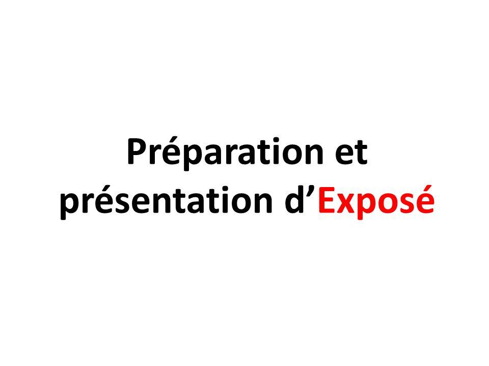 Préparation et présentation dExposé
