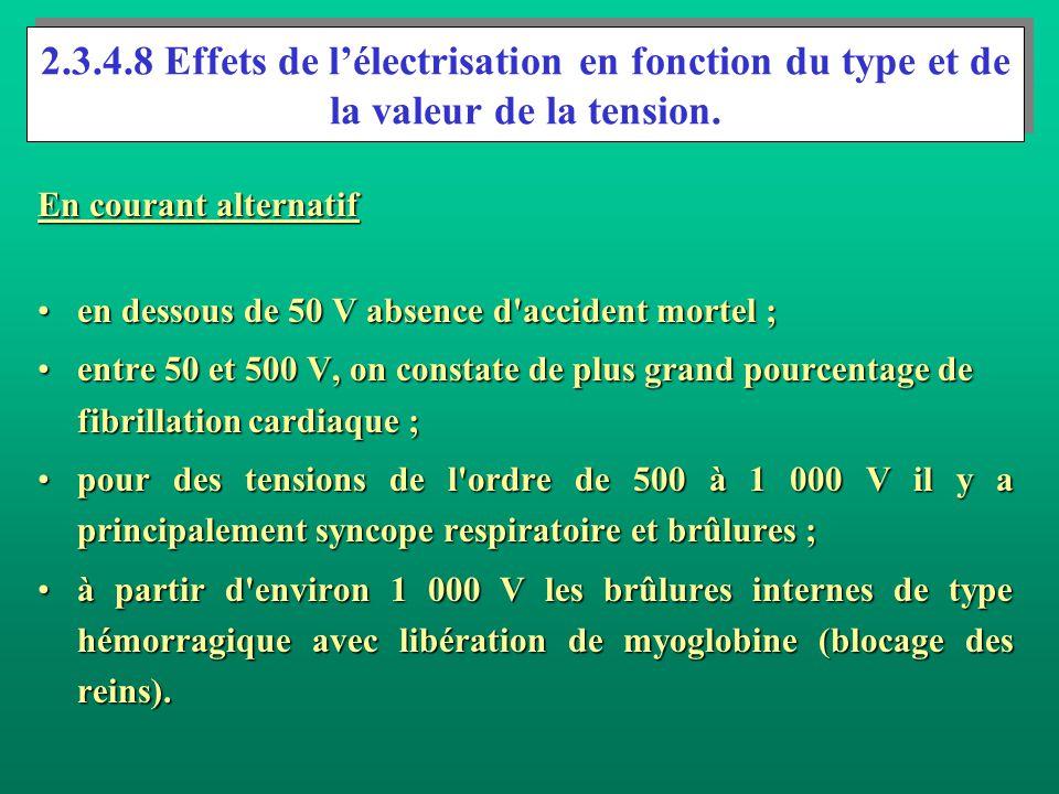 Autres effets du courant continu. Pour des courants inférieurs à 300 mA environ, une sensation de chaleur est sentie dans les extrémités pendant le pa