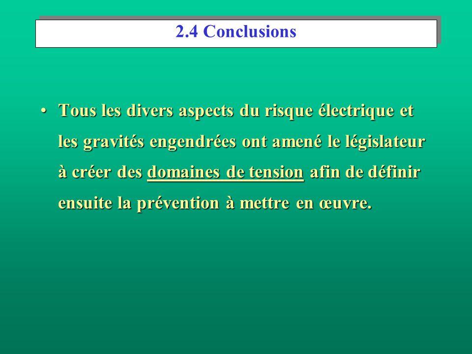 Effets de lélectrisation en fonction du type et de la valeur de la tension (suite). En courant continu en dessous de 120 V absence d'accident mortel ;