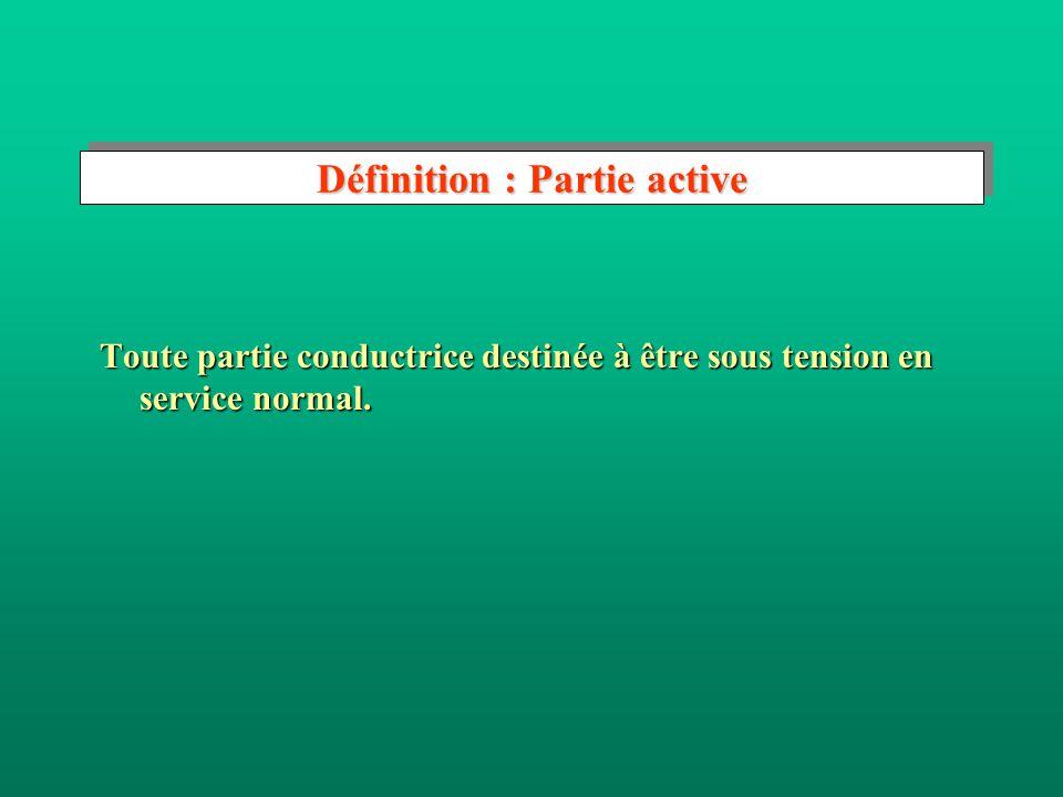 Définition : Masse Partie conductrice dun matériel électrique susceptible dêtre touchée par une personne, qui nest pas normalement sous tension mais p